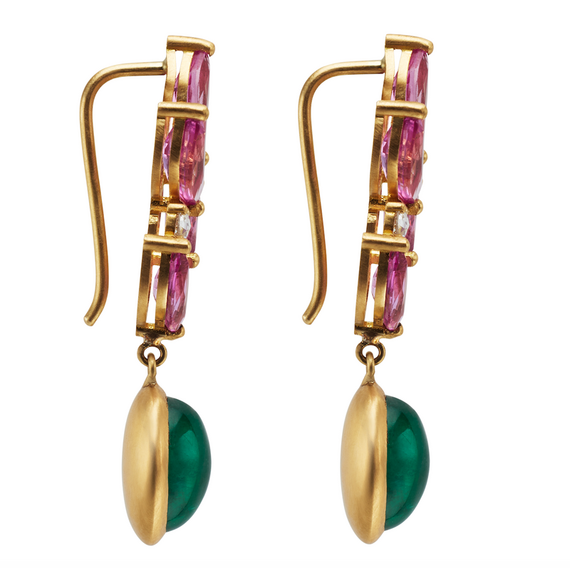 One of a Kind Earrings with Cabochon Emeralds and Pink Sapphire Navettes