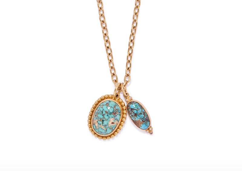 Turquoise Pendant With Diamonds