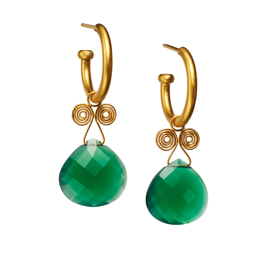 Green Onyx Angel Drop Earrings on Regular Hoops