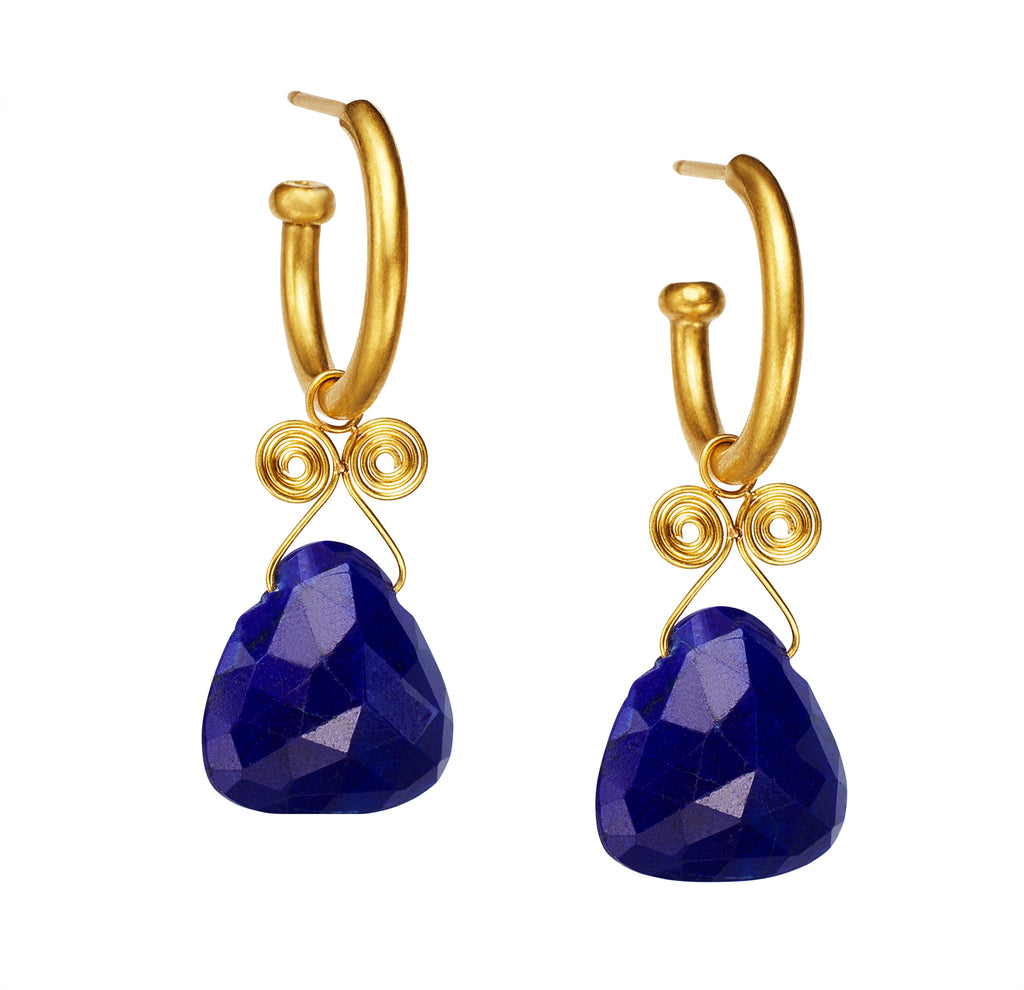 Lapis Angel Drop Earrings on Regular Hoops