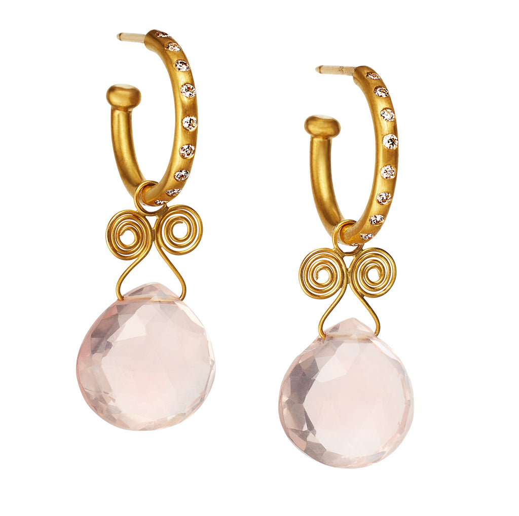 Rose Quartz Angel Drop Earrings on Regular Diamond Hoops