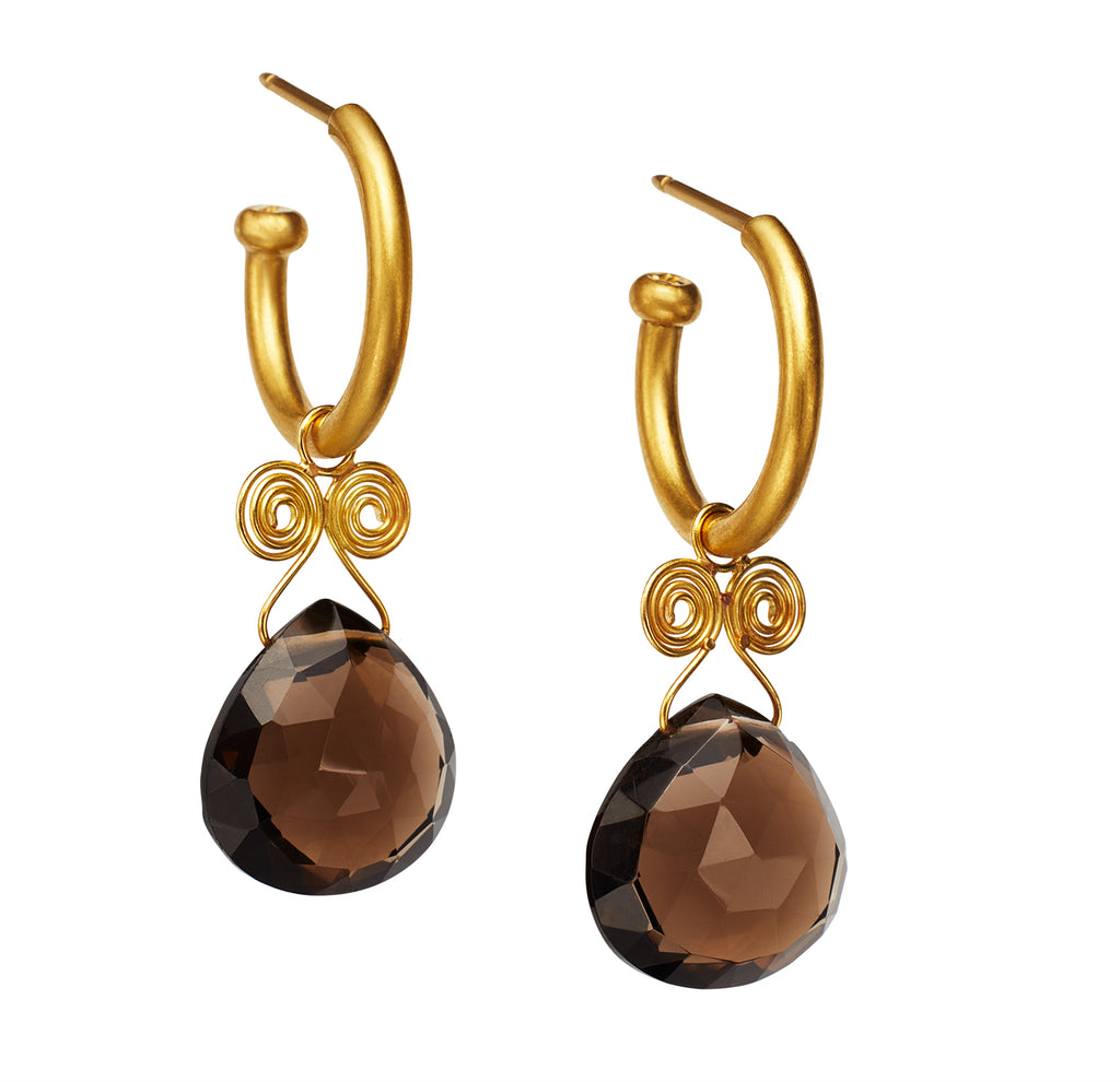 Smokey Quartz Angel Drop Earrings on Regular Hoops