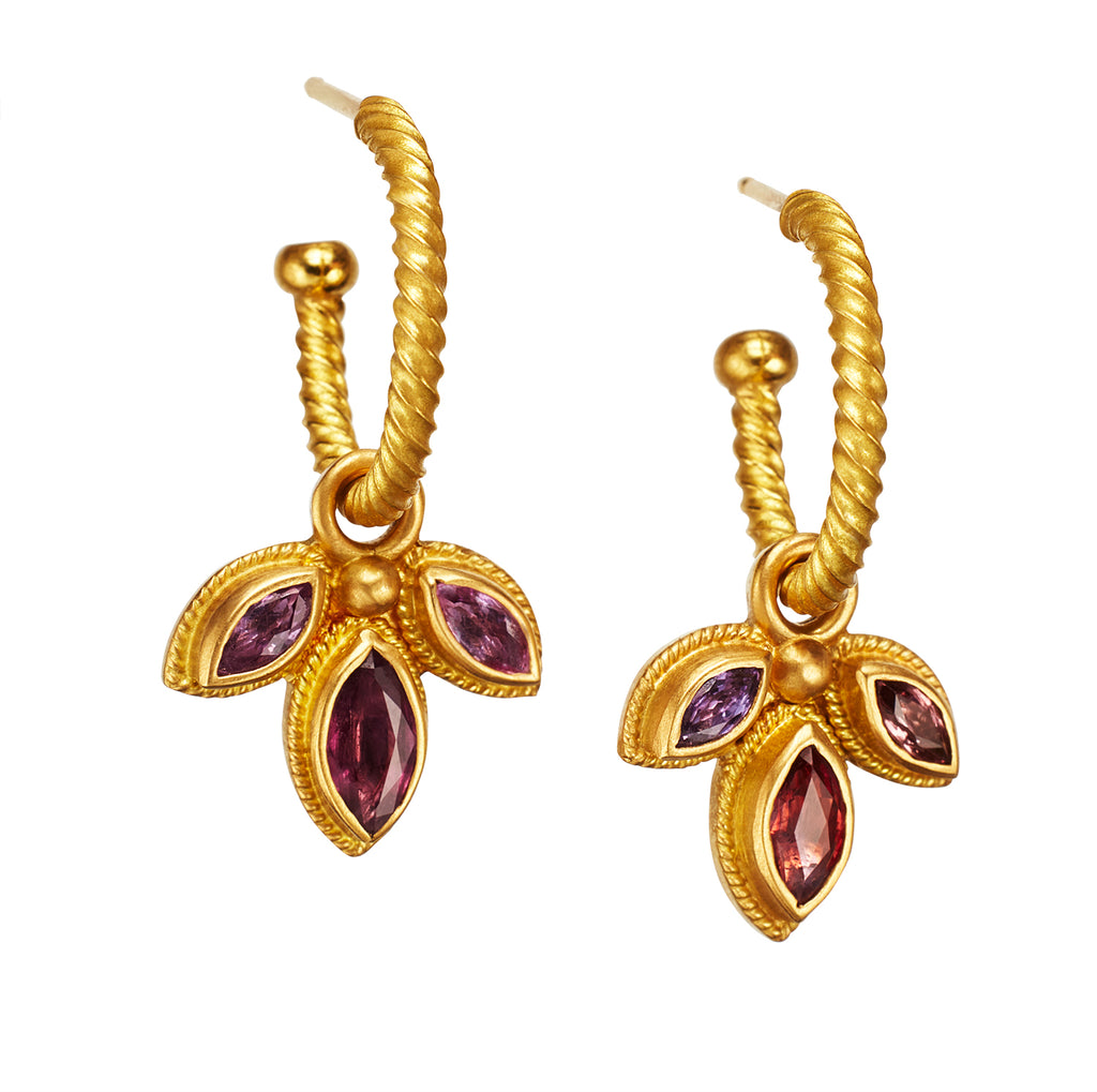 Palm Drops with faceted Pink Marquis Spinel