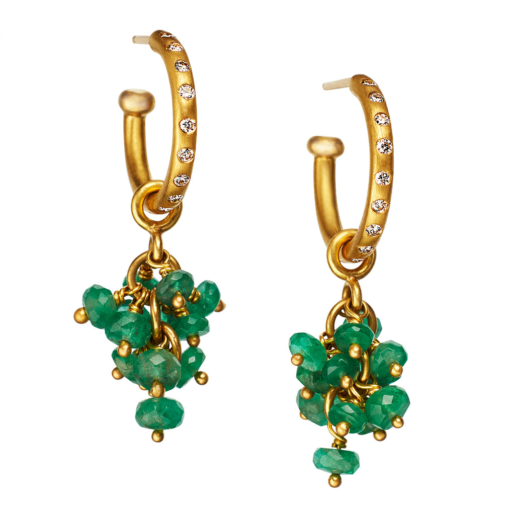 Emerald Bacchus Drops on Diamond Hoops