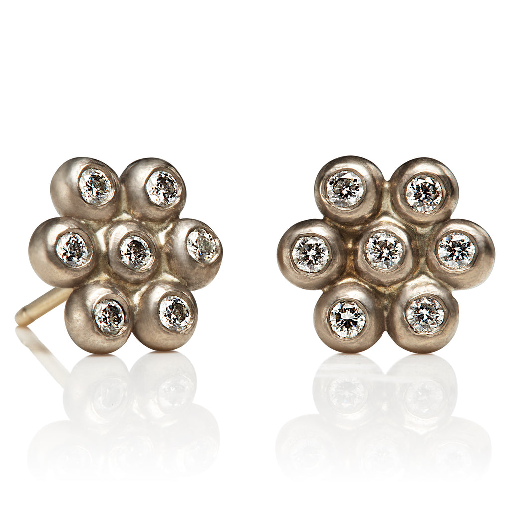 Snowdrop Studs, Large in 18KWG