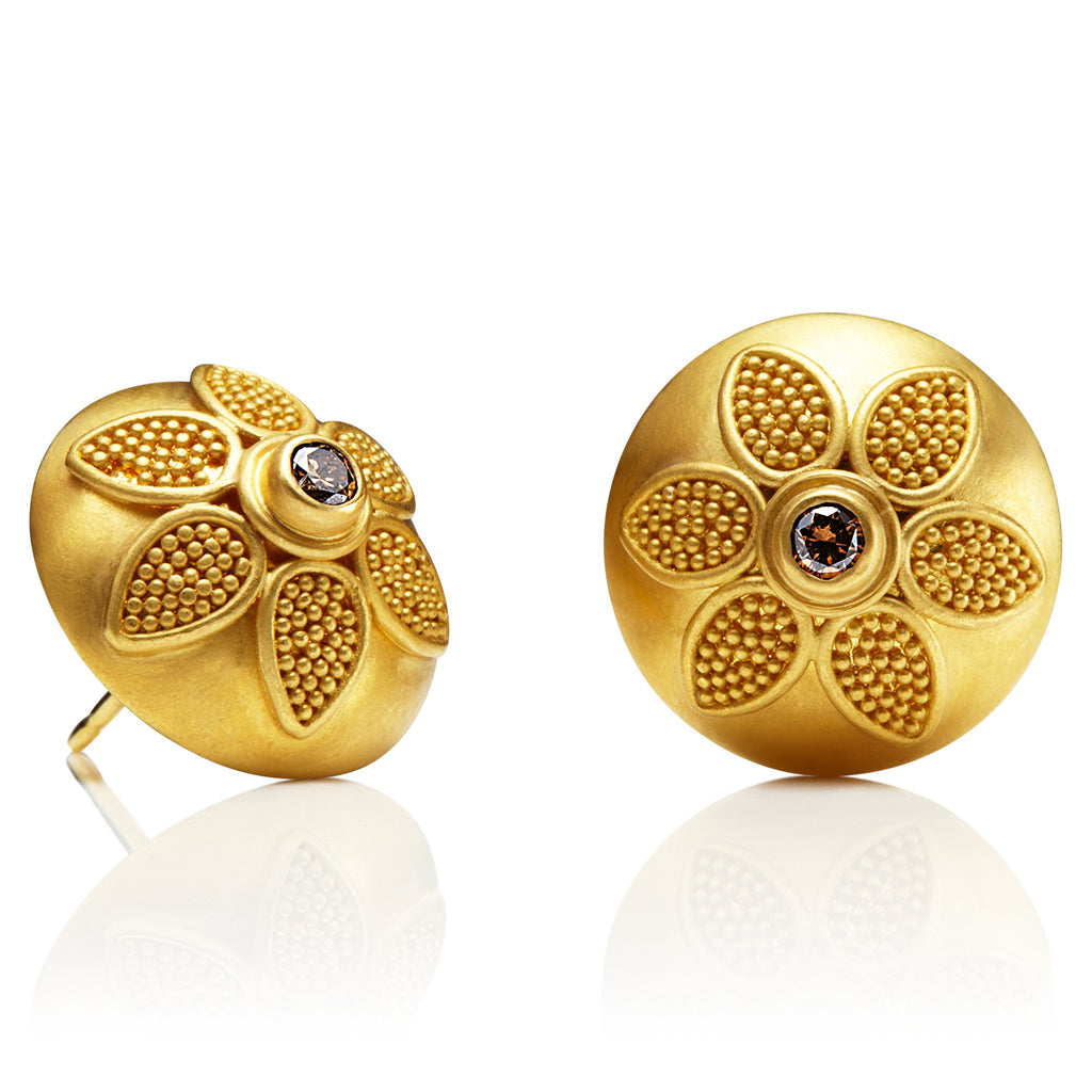 Verbena Earrings with Brown Diamonds in 22K Yellow Gold