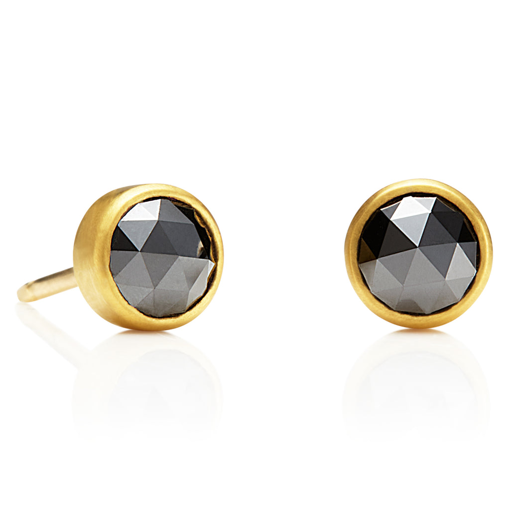 Black Diamond Studs in 20K Peach Gold