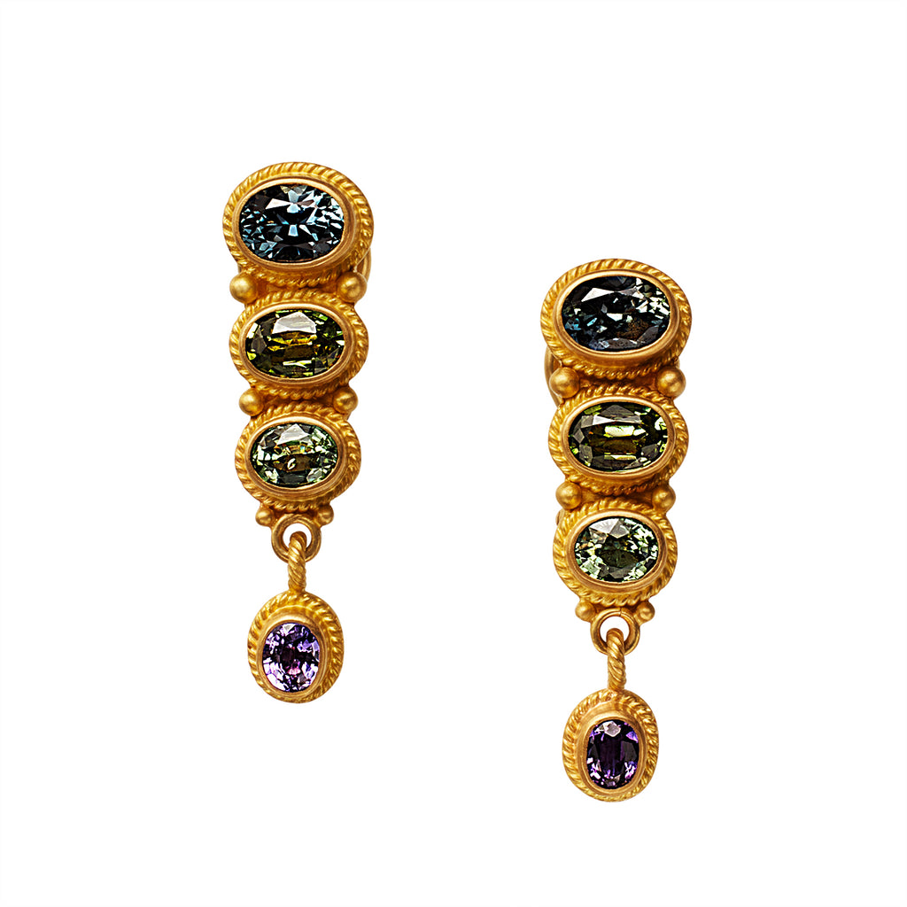 Delicate Earrings with Blue, Green and Purple Sapphires