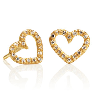 Heart Stud Earrings with Diamonds