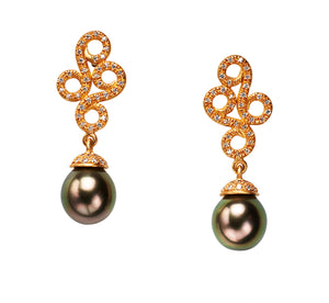Tahitian Pearl Arabesque Empress Earrings