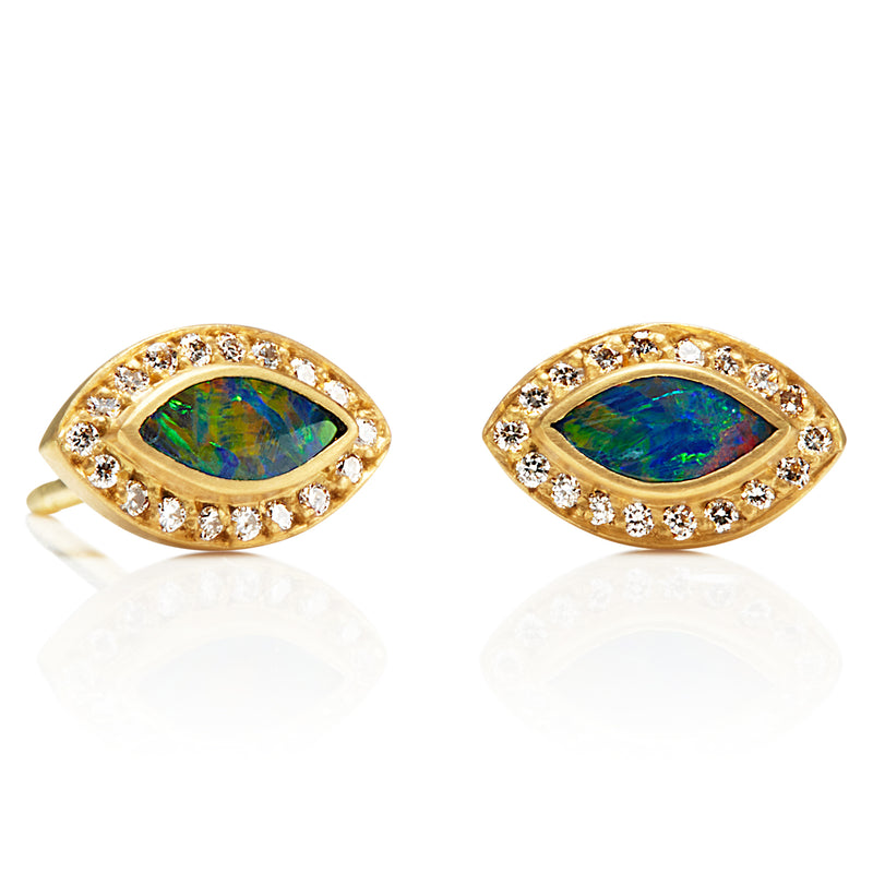 Marquis Opal Sahara Earrings with Diamonds