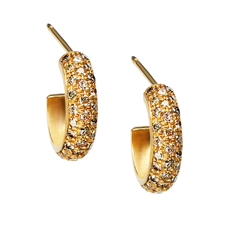 Pave Hoops with Champagne Diamonds