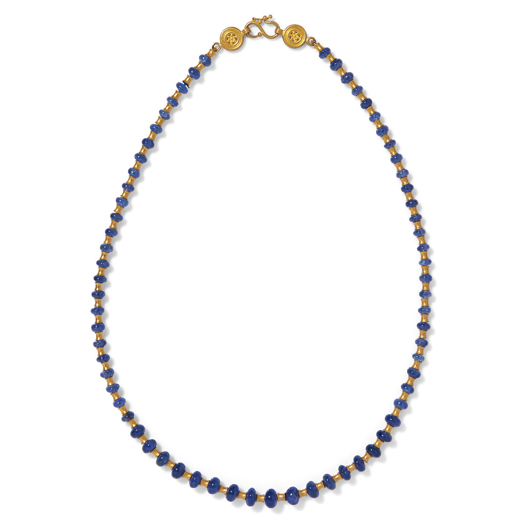 Flared Tube Necklace with Blue Sapphires