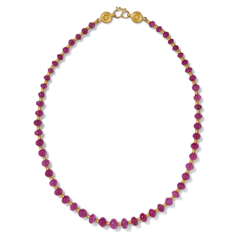 Flared Tube Necklace with Smooth Rubies