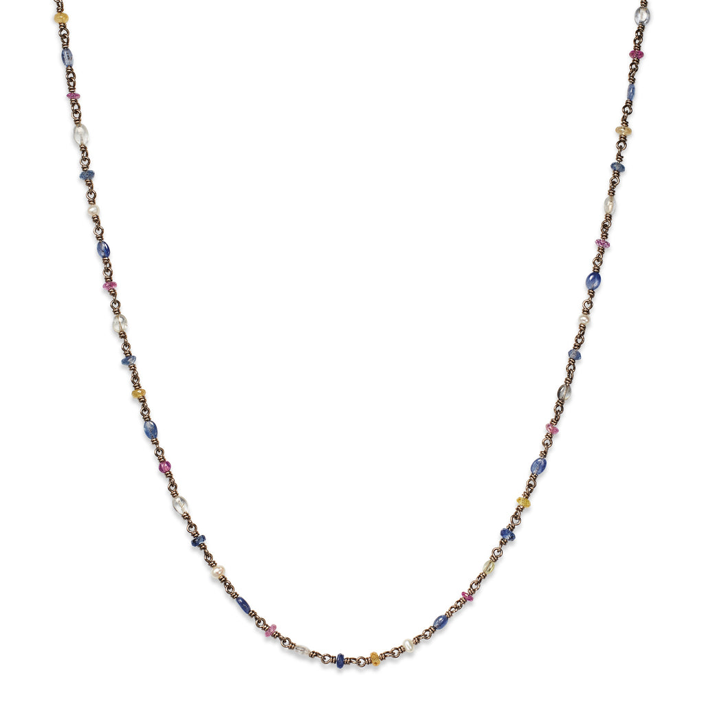 Isabella Necklace with Multi-Colored Sapphires in 18K White Gold