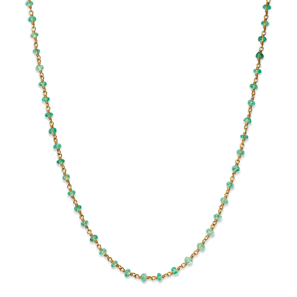 Isabella Necklace with Carved Emeralds