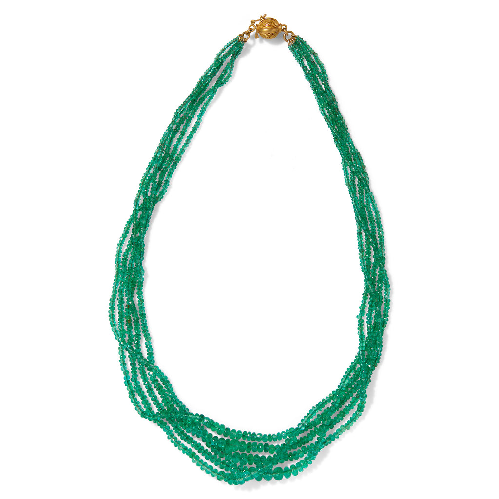 Emerald 5 Strand Necklace