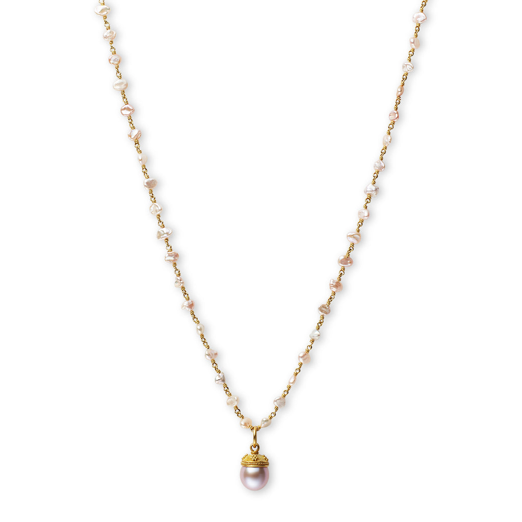 Granulated Wildflower Capped Pink Pearl Pendant