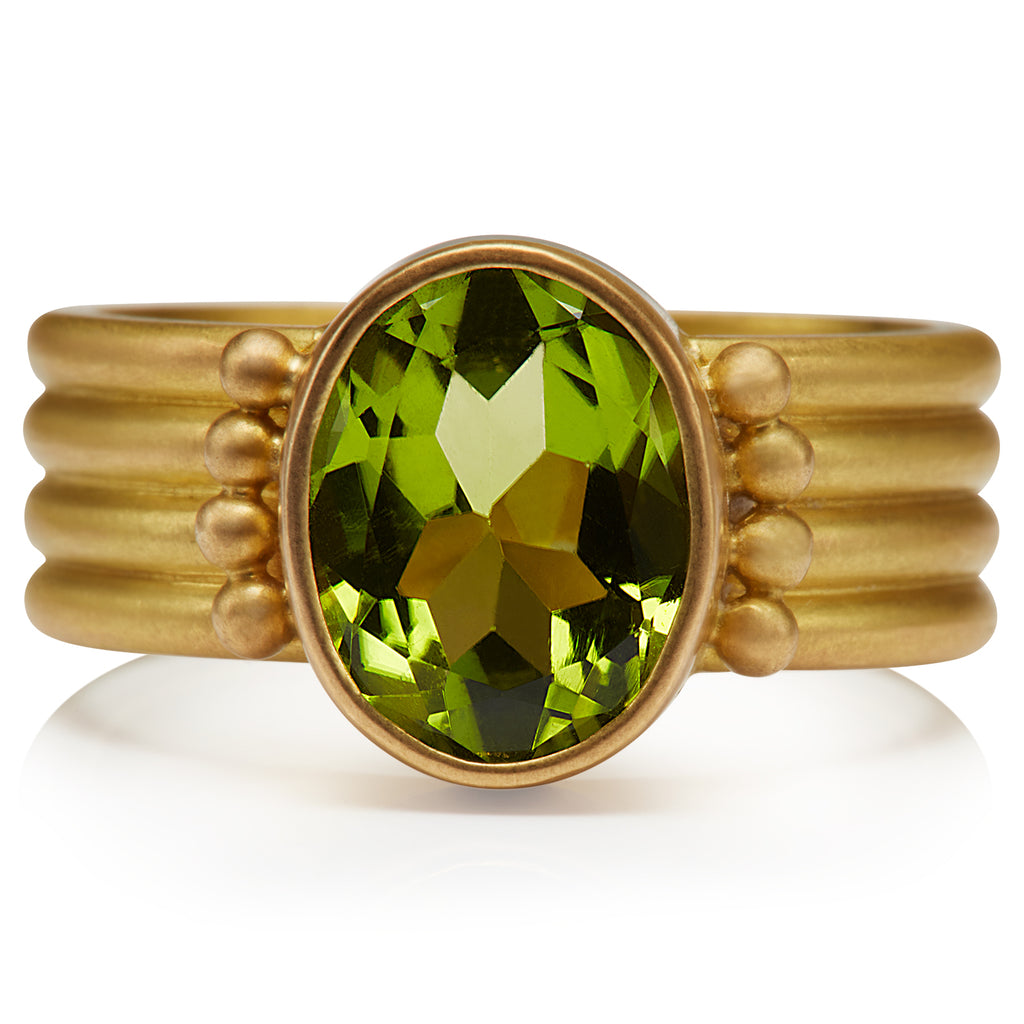 Penta Peridot Ring in 20K Peach Gold