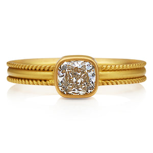 Ribbon Ring with Cushion Cut Diamond in 20K Peach Gold