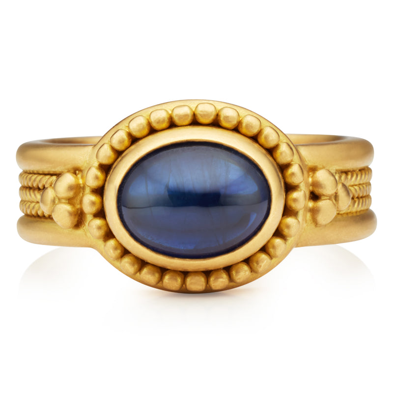 Salome Ring with Oval Blue Sapphire
