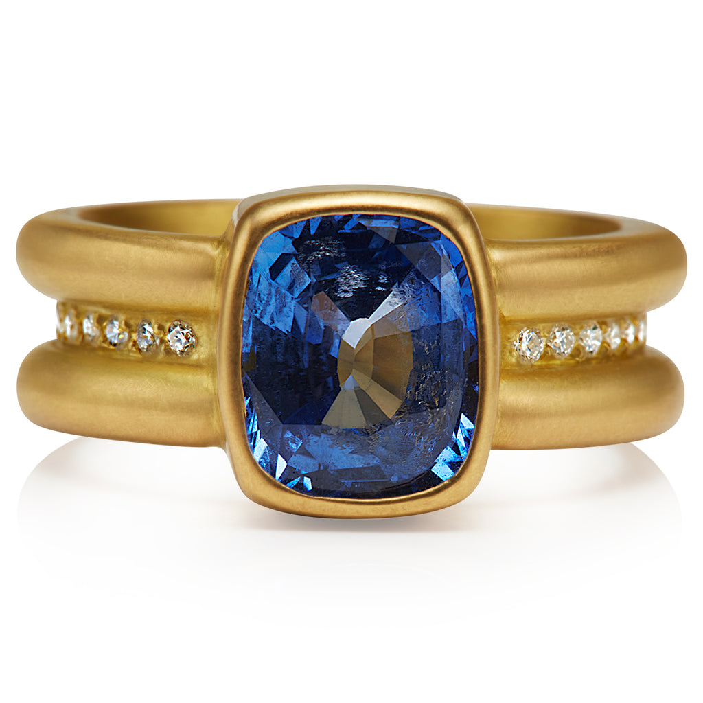 Shimmer Ring with Blue Sapphire in 20KPG