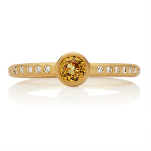 Hoopstock Yellow Sapphire Ring in 20K Peach Gold
