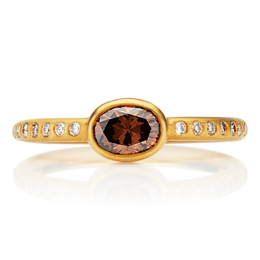 Hoopstock Cognac Diamond Ring in 20K Peach Gold