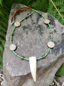 Deer Antler Necklace Stone Beaded Leather Jewelry (AG) - North Rustic