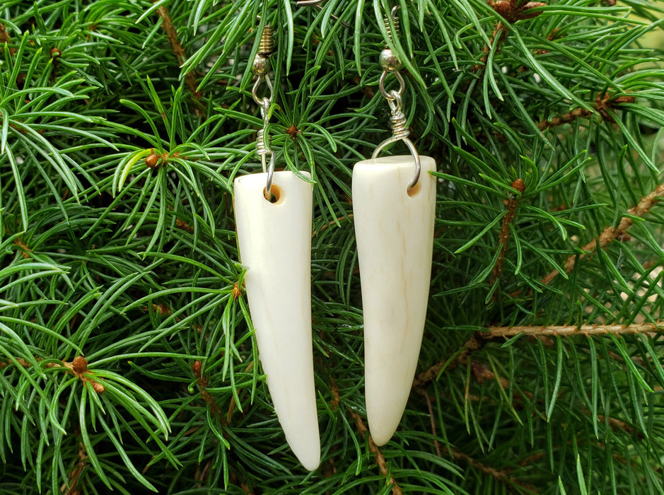 Deer Antler Earrings Rustic Outdoors Jewelry - North Rustic