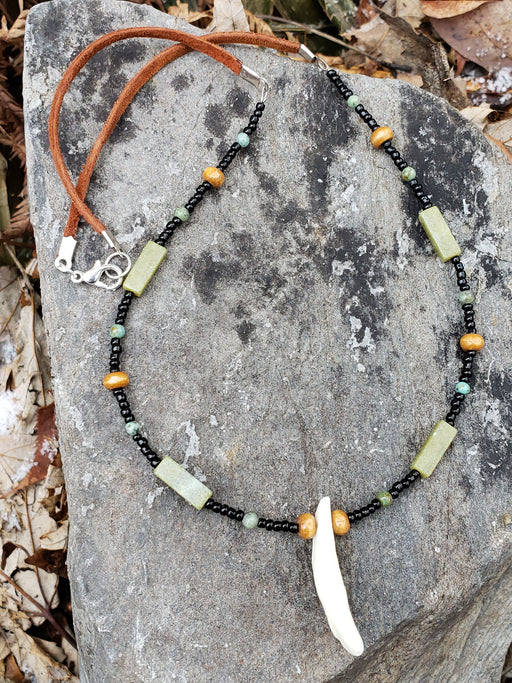 Coyote Tooth Necklace Beaded Leather Jewelry WCBN - North Rustic