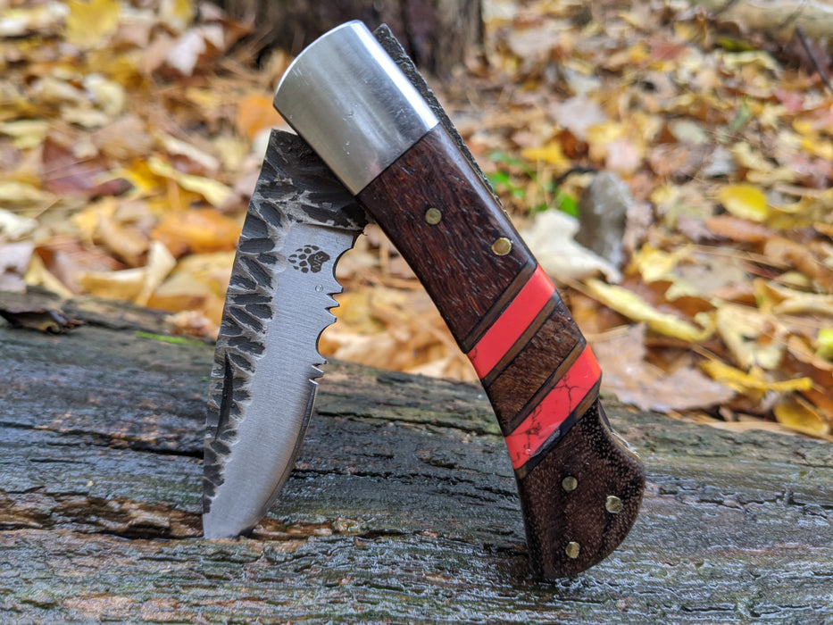 Rose Wood Red Turquoise Handle Folding Pocket Knife NR05-3 - North Rustic