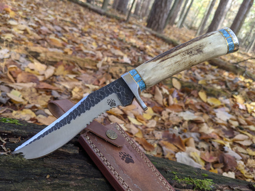 Deer Antler Blue Turquoise Hunting Knife Hammered Blade Stag Horn NR09-1 - North Rustic