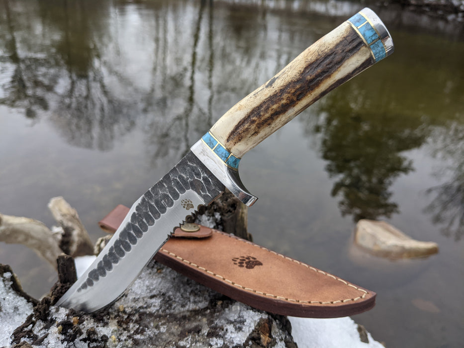 Personalized Hunting Knife | Deer Antler Blue Turquoise Handle | NR09-1 - North Rustic