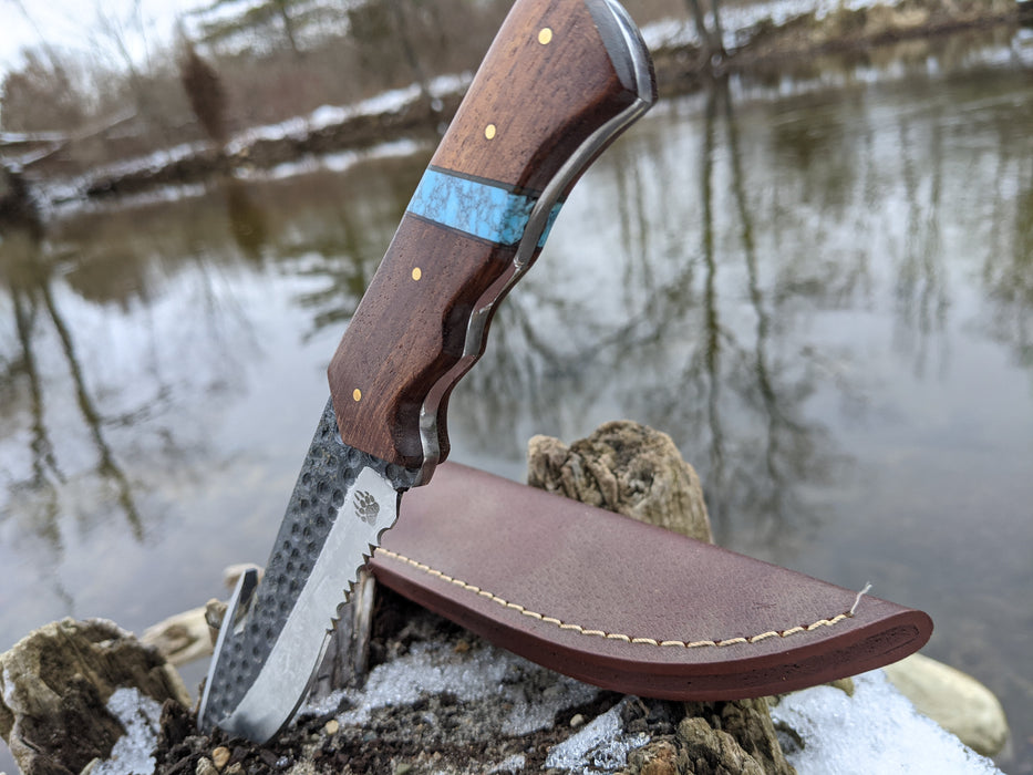 Personalized Hunting Knife | Rose Wood Blue Turquoise Handle | NR14-1 - North Rustic