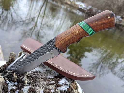 Personalized Hunting Knife | Rose Wood Green Malachite Handle | NR14-2 - North Rustic