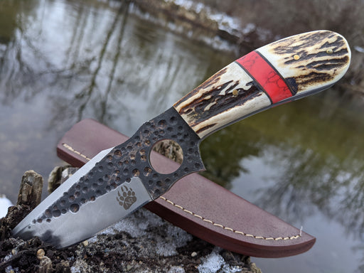 Personalized Hunting Knife | Deer Antler Red Turquoise Handle | NR06-3 - North Rustic