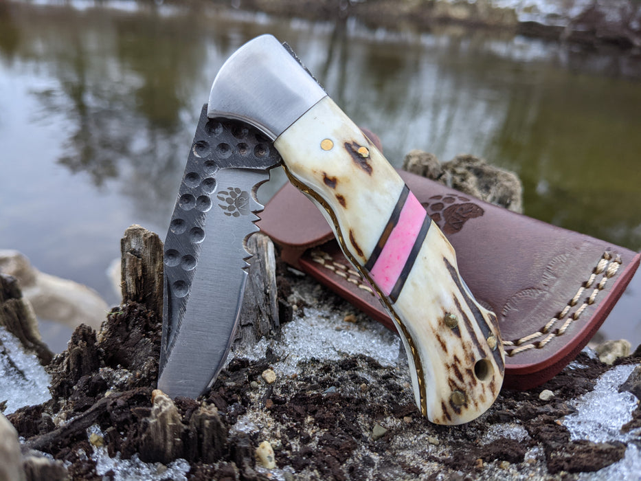Personalized Folding Knife | Deer Antler Pink Coral Handle | NR01-4 - North Rustic