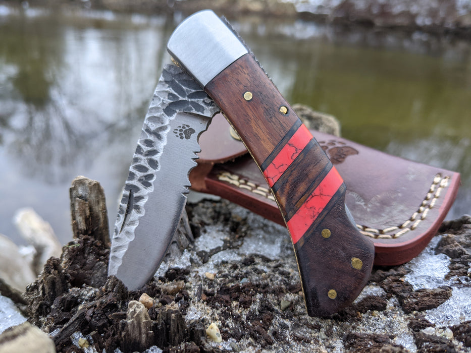 Personalized Folding Knife | Rose Wood Red Turquoise Handle | NR05-3 - North Rustic