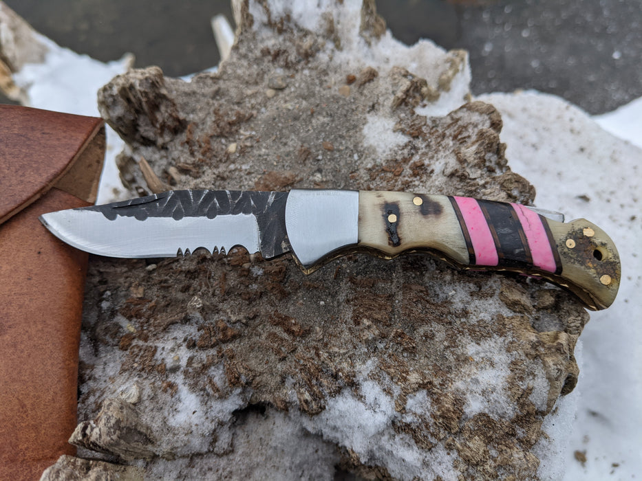 Personalized Folding Knife | Ram Horn Pink Coral Handle | NR13-5 - North Rustic
