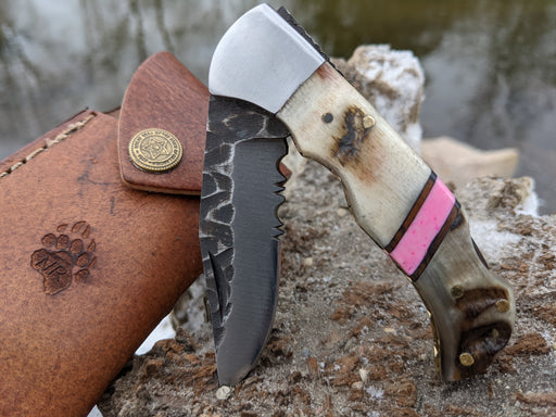 Personalized Folding Knife | Ram Horn Pink Coral Handle | NR04-5 - North Rustic