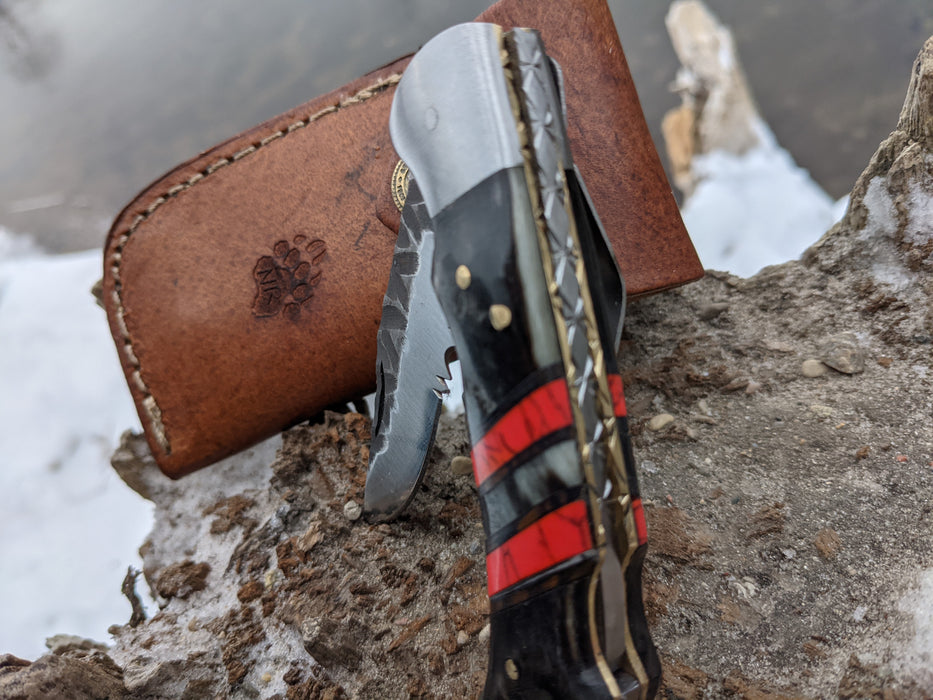 Personalized Folding Knife | Ram Horn Red Turquoise Handle | NR13-3 - North Rustic