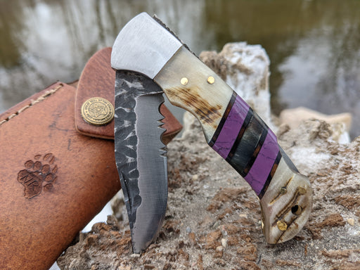 Personalized Folding Knife | Ram Horn Purple Coral Handle | NR13-4 - North Rustic