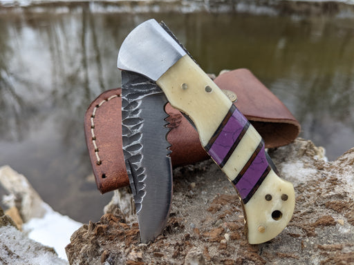 Personalized Folding Knife | Buffalo Bone Purple Coral Handle | NR16-4 - North Rustic