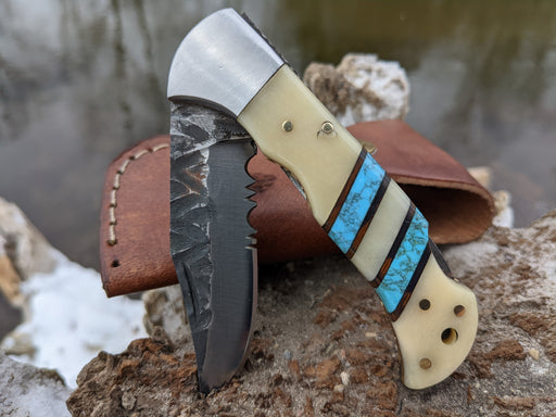 Personalized Folding Knife | Buffalo Bone Blue Turquoise Handle | NR16-1 - North Rustic