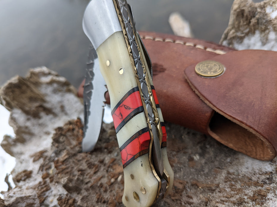 Personalized Folding Knife | Buffalo Bone Red Turquoise Handle | NR16-3 - North Rustic