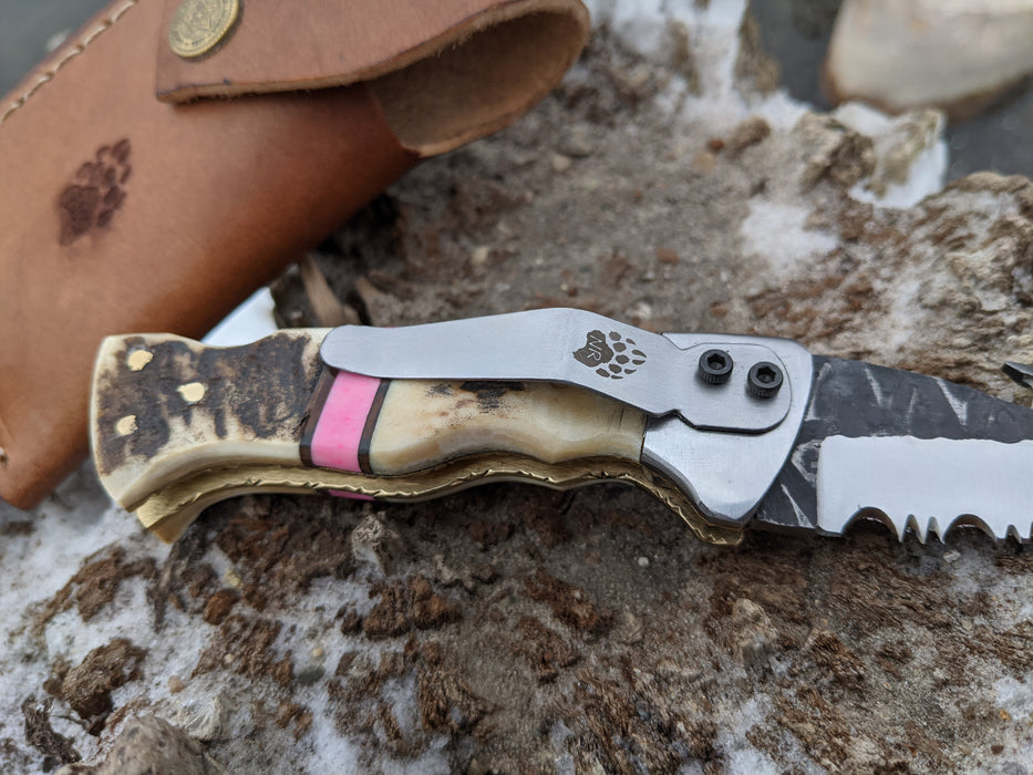 Personalized Folding Knife | Deer Antler Pink Coral Handle | NR10-5 - North Rustic