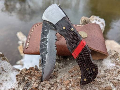 Personalized Folding Knife | Wenge Wood Red Turquoise Handle | NR11-3 - North Rustic