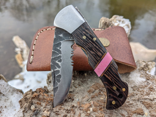 Personalized Folding Knife | Wenge Wood Pink Coral Handle | NR11-5 - North Rustic
