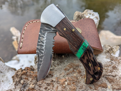 Personalized Folding Knife | Wenge Wood Green Malachite Handle | NR11-2 - North Rustic